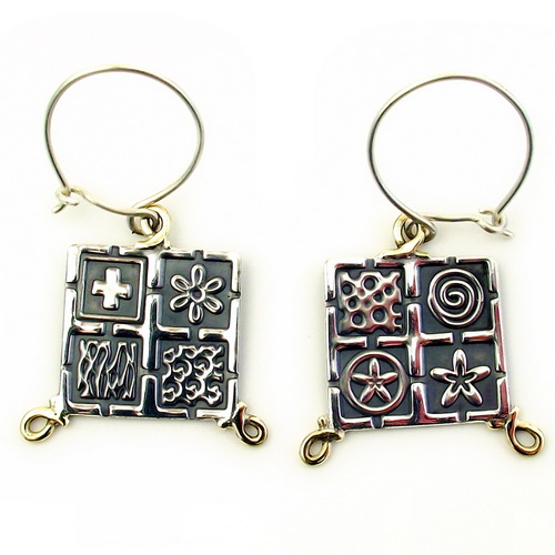 Oxidised Square Silver earrings